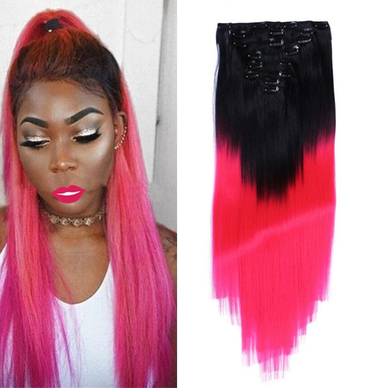 T1b Pink Ombre Clip In Human Hair Extensions Cheap Two Tone Straight