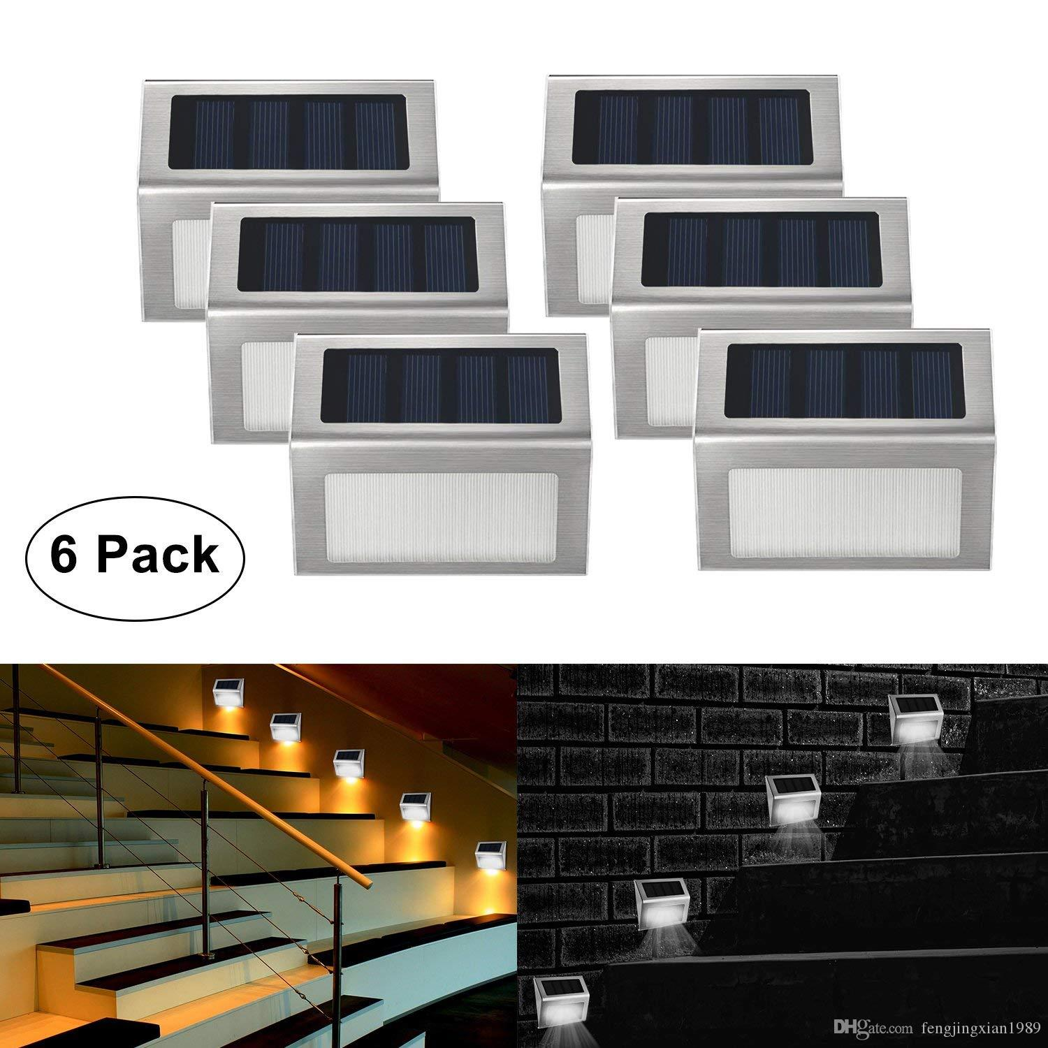 2018 Solar Stair Lights Outdoor Led Step Lighting 2 Leds Stainless Steel  For Steps Paths Patio Decks Pack Of 6 From Fengjingxian1989, $4.08 |  Dhgate.Com