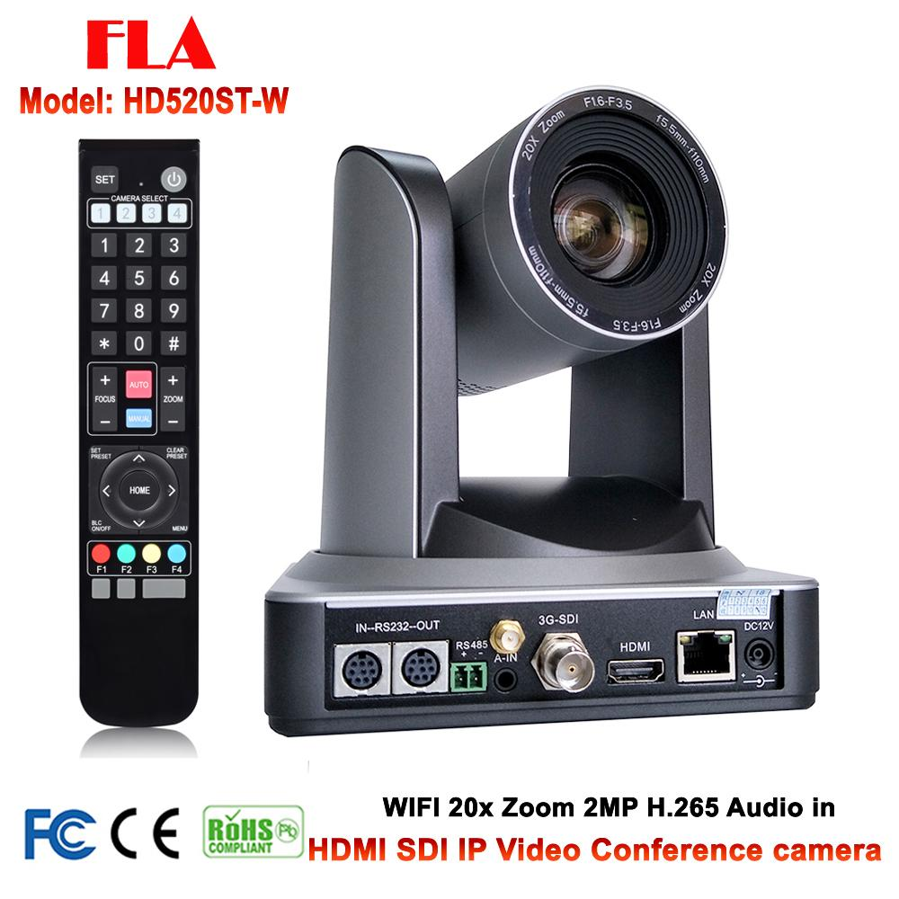 20X Optical Zoom PTZ IP WIFI Streaming Video Audio Camera RTMP RTSP Onvif  with Simultaneous HDMI and 3G-SDI Outputs Silver Color