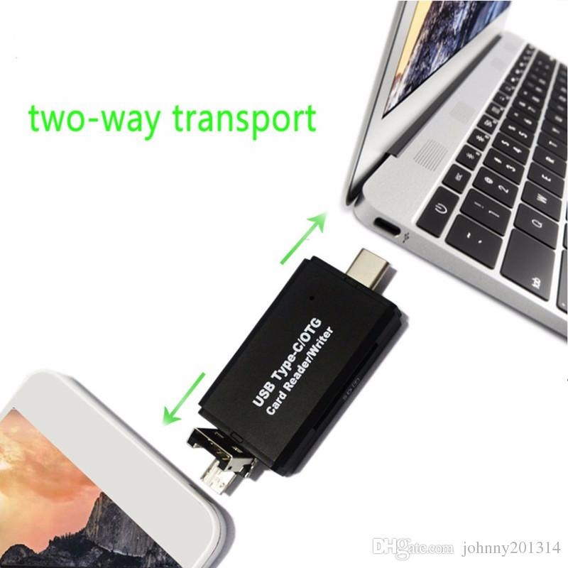 Micro USB to 2 Slot TF SD Type C Card Reader Universal 3 in1 OTG Type-C Card Reader for Smartphone PC