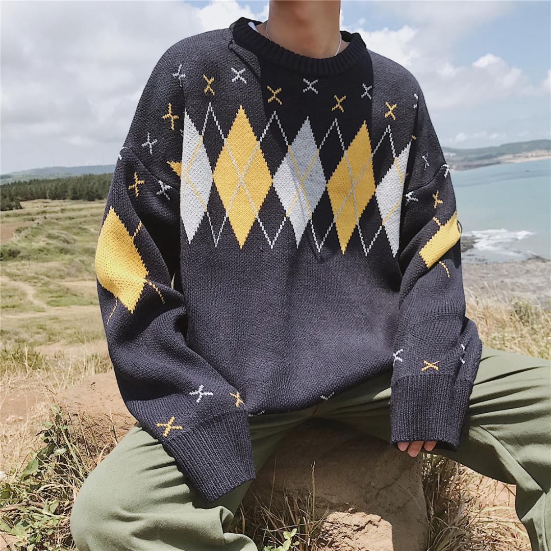 6128c7f1ada8a6 2018 Winter Men S Fashion Ethnic Style Rhombic Round Collar Knitted  Pullovers Loose Casual Apricot Blue Color Sweaters M 2XL UK 2019 From  Wochanmei
