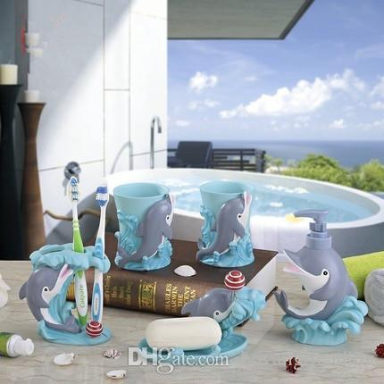 Unique Children Tooth Cleaning Set Dolphin Soap Dish 100% Handmade Safe And  Cute Bathroom Set Tooth Mug 3D Cartoon Brush Holder Kids Gift Hot Sea Item  ...