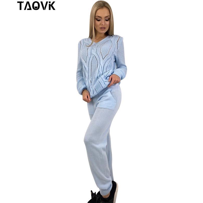 купить оптом Taovk женщины шерстяные теплый вязаный костюм причинно
