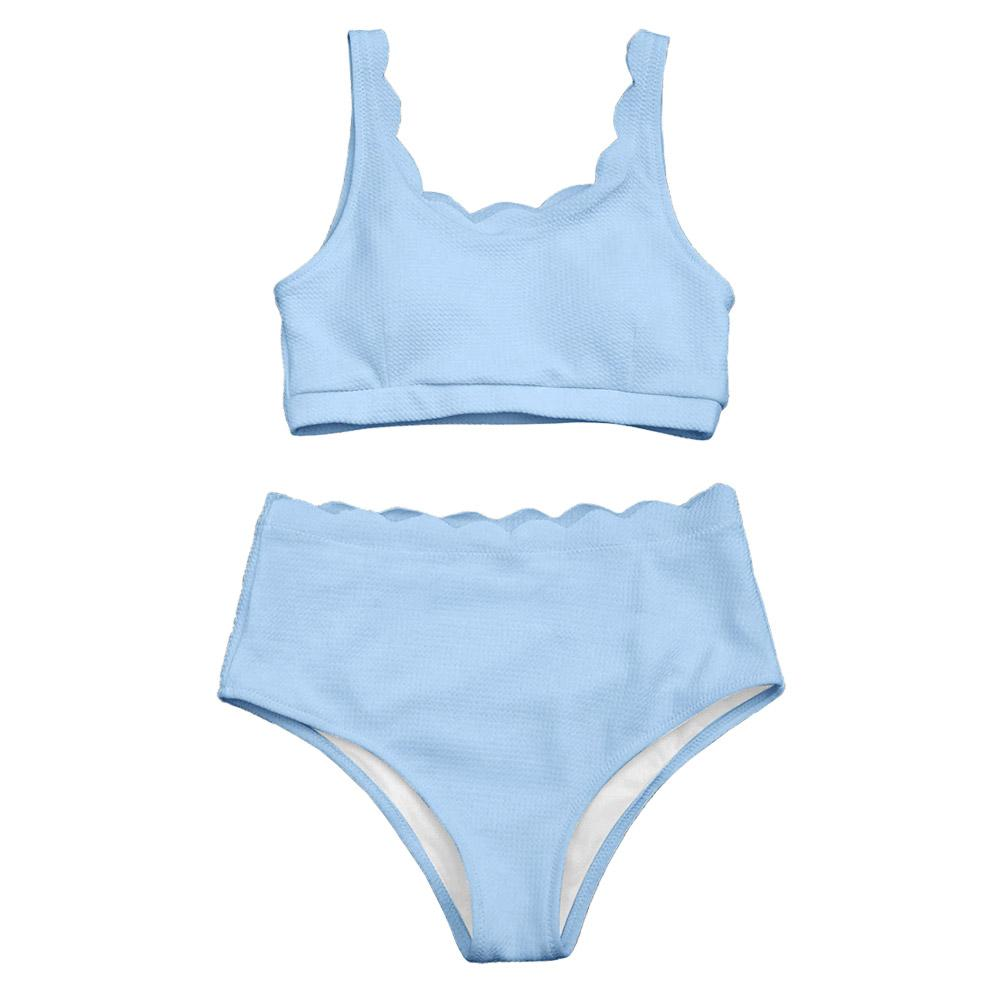 8bf434f0543 2019 New High Waisted Women Swimsuit Scalloped Bralette Bikini Set Swimwear  Solid Color Beach Bathing Suit Summer From Clothingdh, $22.59 | DHgate.Com
