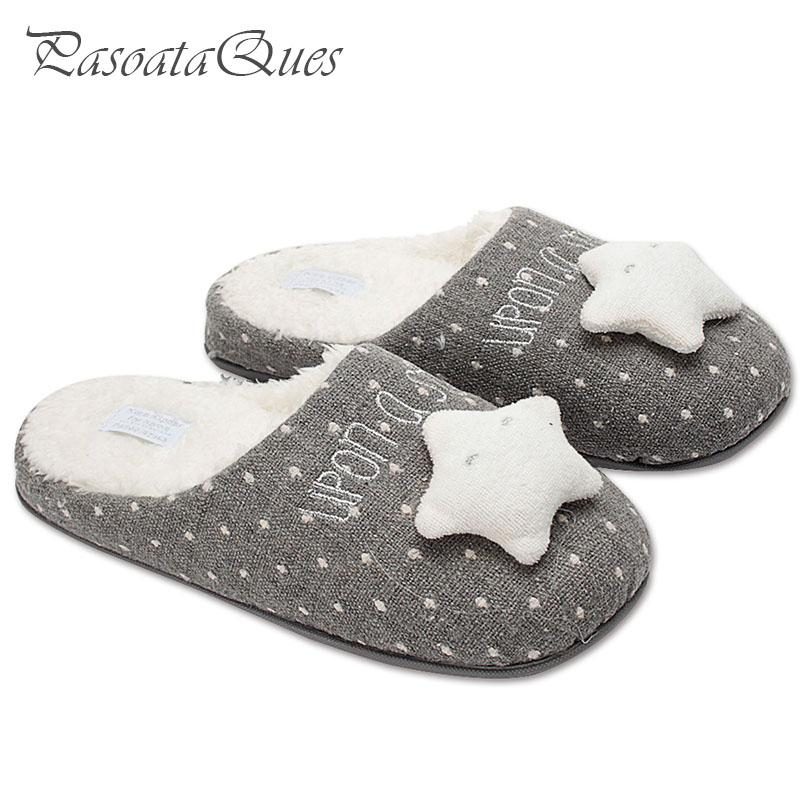 e15a59bd378e New Cute Star Women Home Slippers Warm Winter House Shoes For Indoor Bedroom  Cotton Shoes Girls Ladies Room Flats Christmas Gift Shoe Boots Fur Boots  From ...
