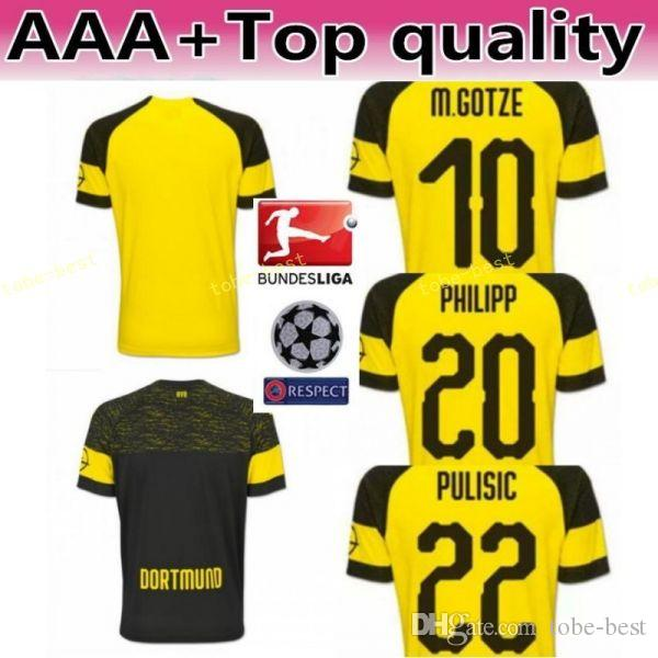 ... shirt kit uniform online with 6ba6f 94443  low cost 2018 2019  bundesliga fc borussia dortmund jersey men soccer 11 gotze 11 reus 22 bc9f2422e