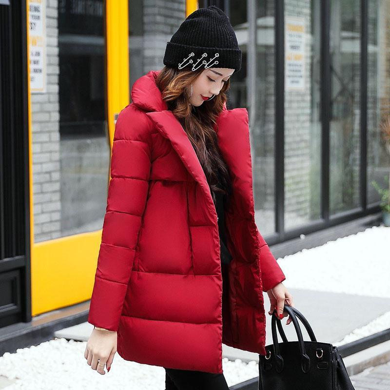 5e8181c0b5a 2018 Women Winter Down Jacket Female Hooded Thicken Coat Casual Warm  Outwear Down Cotton-Padded Long Wadded Coats Parka Solid Women Down Coats  Long Thicken ...