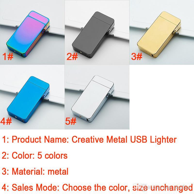 2018 Nueva Moda Y Caliente CSelling USB Eléctrico de Doble Arco Antorcha Sin Llama de Metal Recargable a prueba de viento Encendedor XL-450