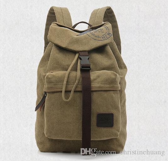 de61792bc Men Women Vintage Canvas Backpack Brown Khaki Army Green Rucksack Shoulder  Hiking Camping Treking School BookBag Luggage Bag For Trip Tour School  Backpacks ...