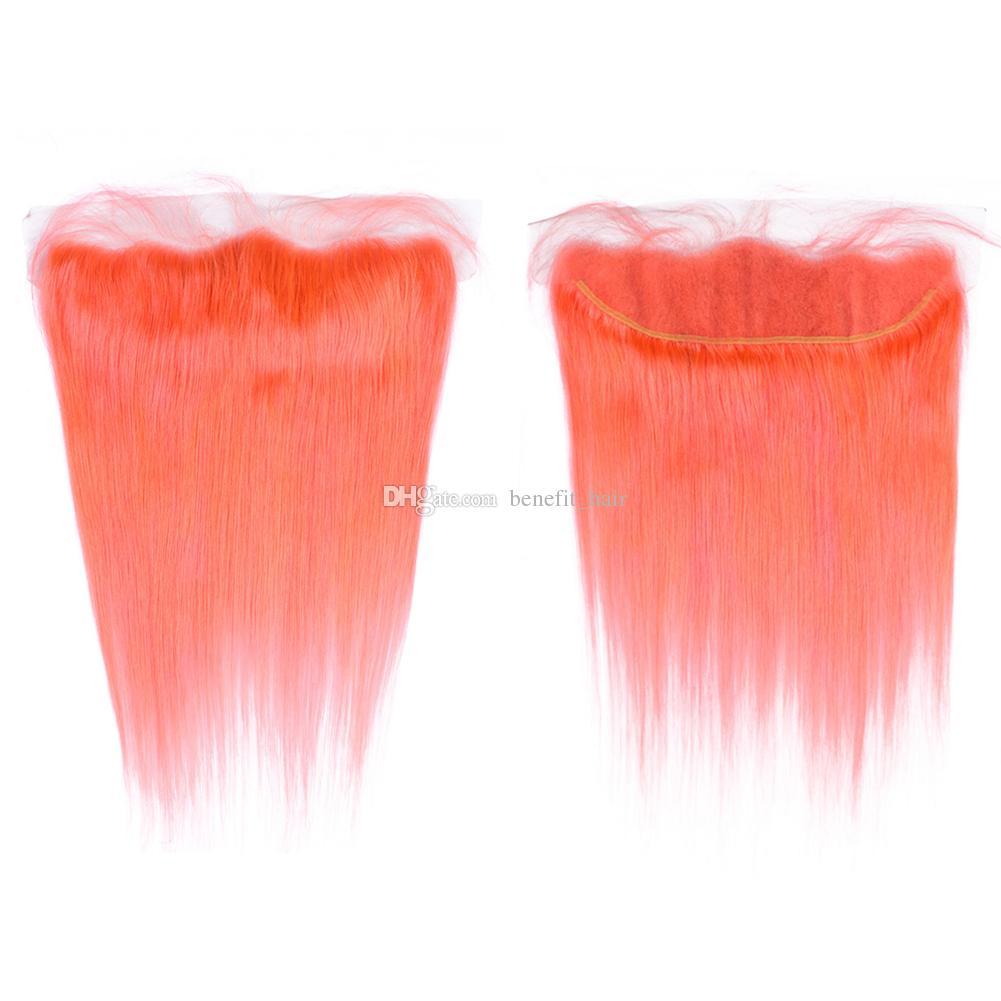 Extensiones de trama de cabello color naranja con frontales 13x4 sol brasileño de color naranja oreja a oreja frontal con 9A 3 tejer rectos