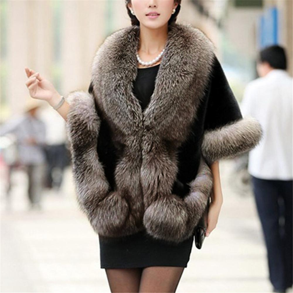 iShine 2017 Winter Faux Fox Fur Mink Rabbit Poncho Cape Coats Elegant Women Batwing Sleeve Irregular Design Shawl Cloak Overcoat