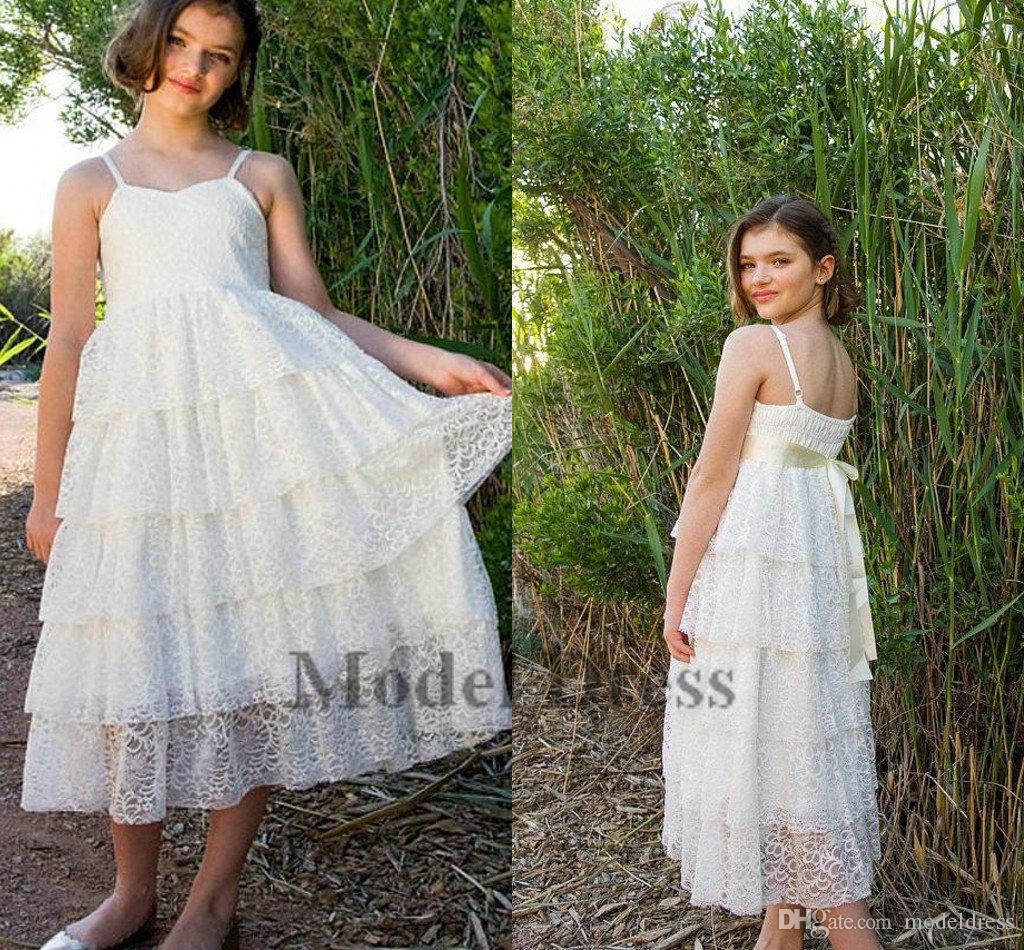 White Lace Flower Girls Dresses A Line Spaghetti Straps Tiered Tea Length with Ribbon Sash Girls Birthday Cupcake Dress Lovely 2018