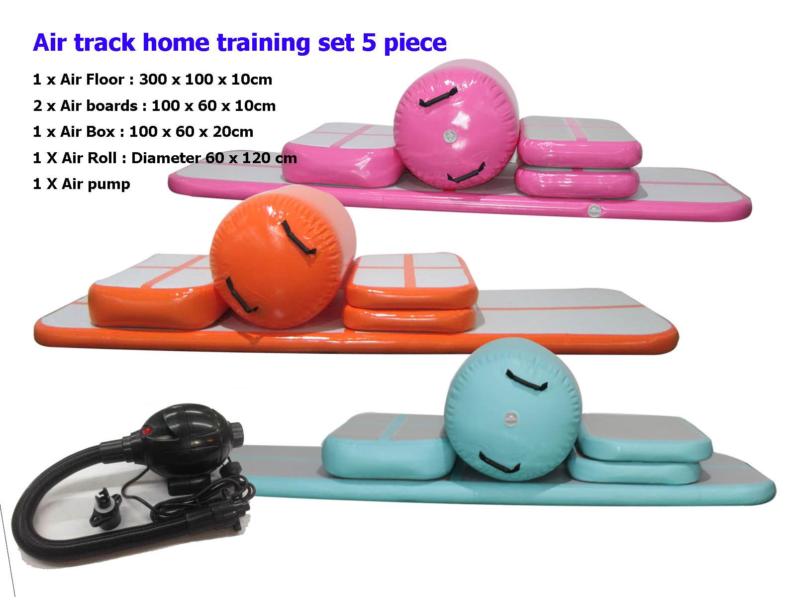 e61005caedf1 Free Shipping 6 Pieces (4 air track+1 roller+1 pump) Inflatable Tumbling  Mat Airtrack Training Set For Home gymnastics Air Track mat