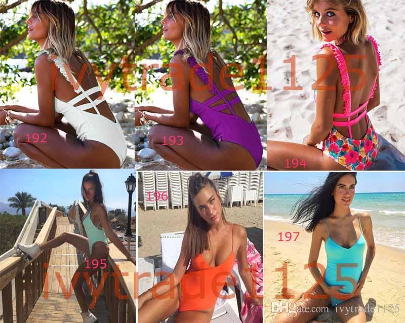 186-203 Nuevas Adquisiciones de Color Caramelo Bikinis venta caliente sexy Swinwear una pieza Traje de baño dama Traje de baño Bikini atractivo envío gratis