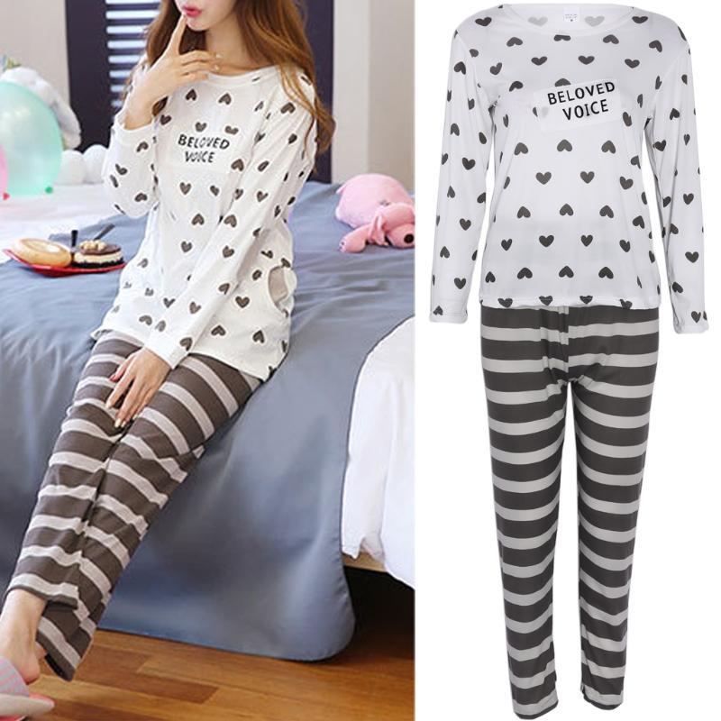 ba434ed2cb THINKTHENDO Women Long Sleeve Cartoon Love letter Print Tops And Stripe  Pants Suit Sleepwear