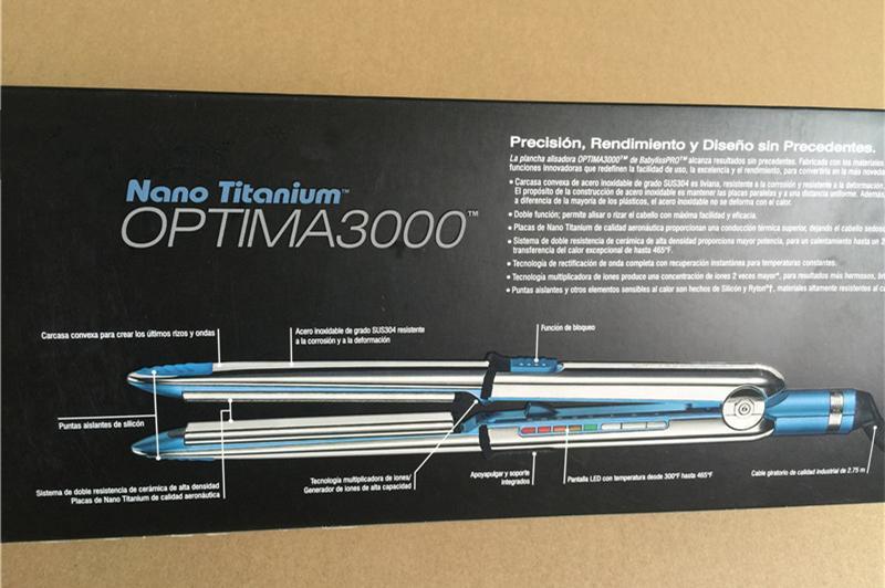 En stock optima 3000 fer à lisser PRO Na-No TITANIUM plaque fer plat fer à lisser ionique DHL gratuite