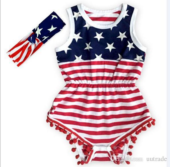 / set Baby Girl 4 de julio trajes Día de la Independencia verano Romper niña recién nacida 4 de julio bebé julio 4 equipo conjunto estampado de estrellas mono