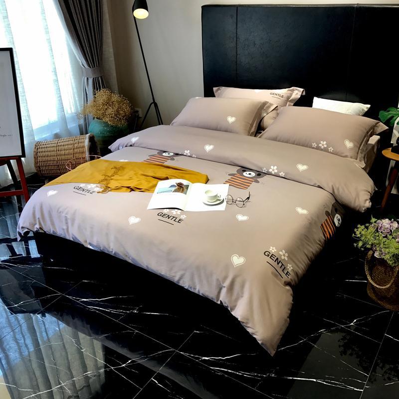 Biancheria da letto in cotone egiziano stampato a forma di cuore Letto  matrimoniale Queen Size Bedding Kit Lenzuolo Federa Copripiumino Set