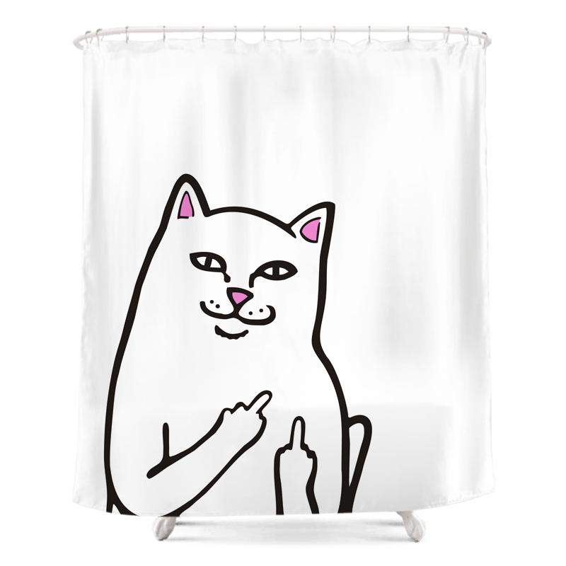 2018 New Middle Finger Cat Shower Curtain Fashion Bath Shower ...