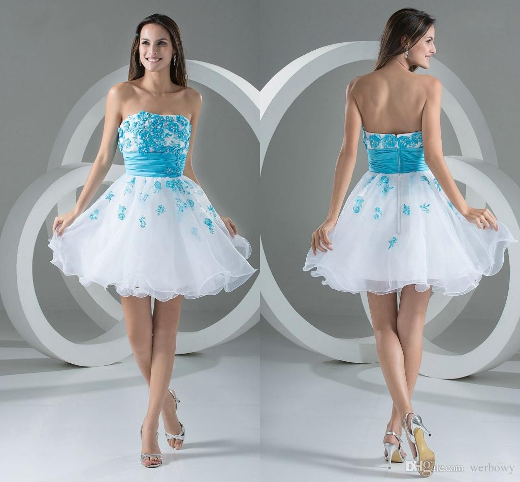3c141771d9 Vestidos Baratos Curto Azul Branco Cocktail Com Apliques Querida Decote  Coração Acima Do Joelho De Comprimento Vestidos De Festa Plus Size Vestidos  De Baile ...