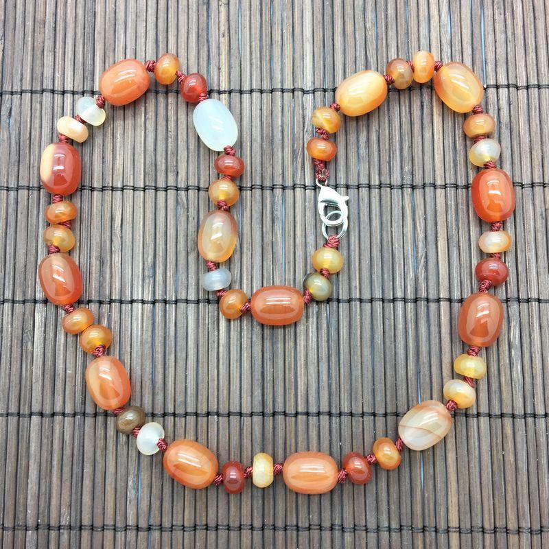Naturalny Kamień Koralik Choker Naszyjnik Mahogański Obsidian Koralik Naszyjnik 45 cm Oval Bead Srebrny Kolor