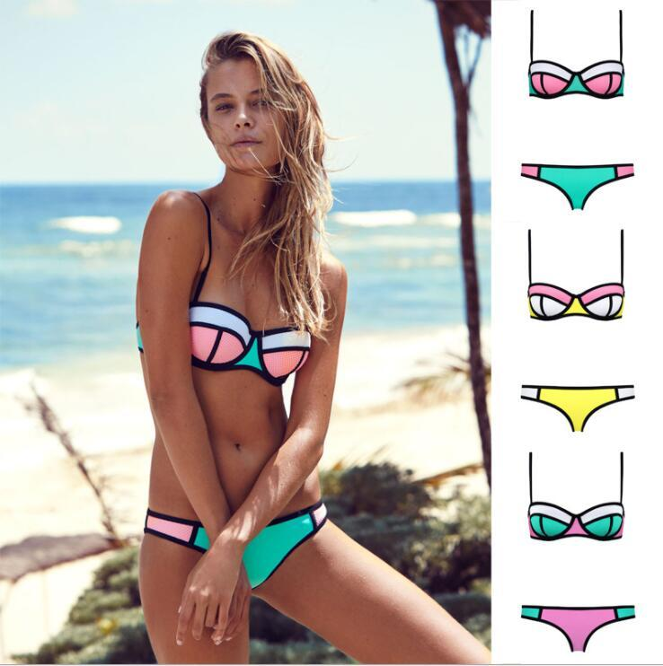 Womens Push Up Bikini Set Swimsuit Two Piece Women Triangle Bikini Set Swimwear Bathing Suit KKA5047