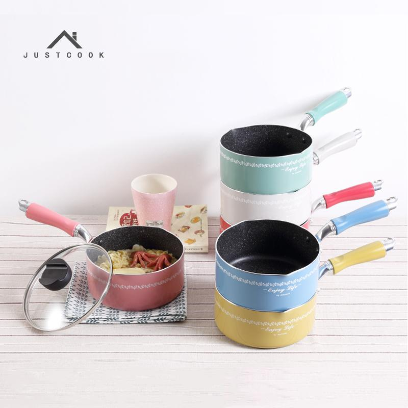 Justcook 16 Cm Dazzle Color Non -Stick Pan Heating Milk Soup Portable Mini Milk Pot General Use For Gas And Induction Cooker