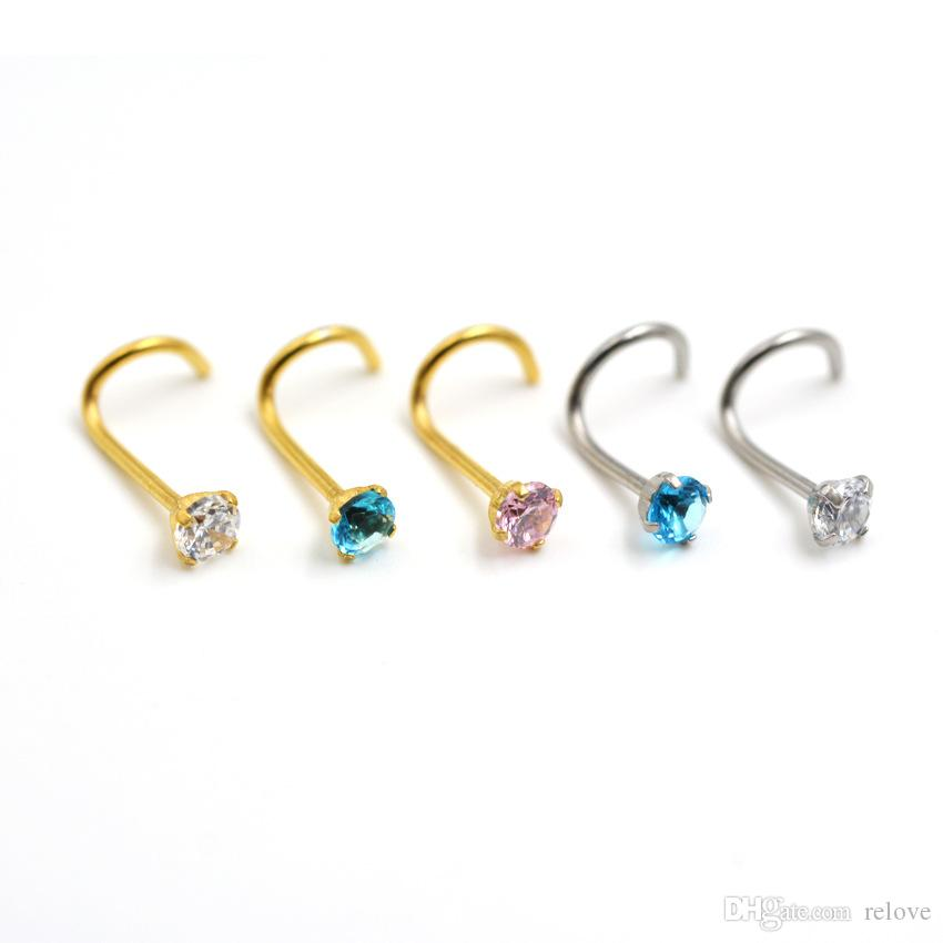 Fashion Nose Rings S Shape Nose Hoop Ring Stud Ring Body Jewelry Piercing Stainless Steel Earring Studs