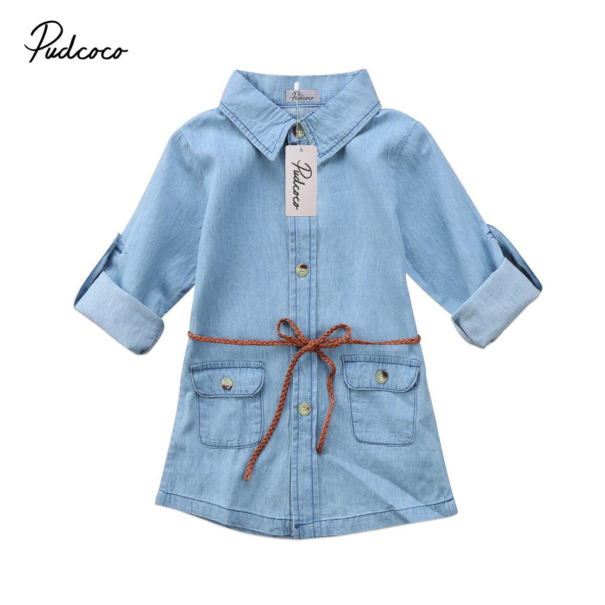 Kids Girl Jeans Denim Pocket Long Sleeve Loose Shirt Dress Little Girls Buttons Dresses For Girls Clothing