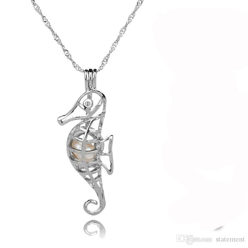 Silver Pearl Cage Pendant With Natural Oyster Pearl Beads Fashion Mermaid Unicorn Dragon Shape Locket Clavicle Chain DIY Necklace