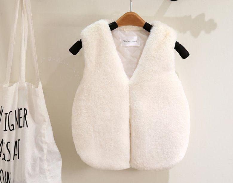 233ce1d51 Girls Waistcoat Fashion Kids Faux Fur Waistcoats Children V Neck ...