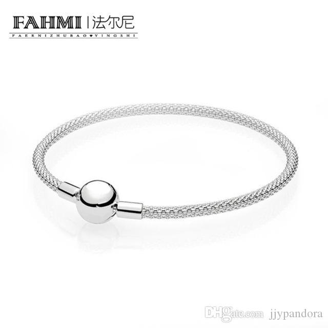 1f12ca960244 FAHMI 100% 925 pulsera de malla de plata esterlina original Brazaletes Gor  Mujeres La última versión Para As Mulheres Menina Pulseira