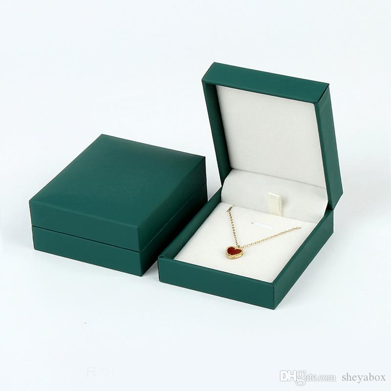Green Fancy Paper Jewelry Gift Boxes Finger Ring Studs Earring Pendant Necklace Bangle Bracelet Packaging Box With White Velvet Insert