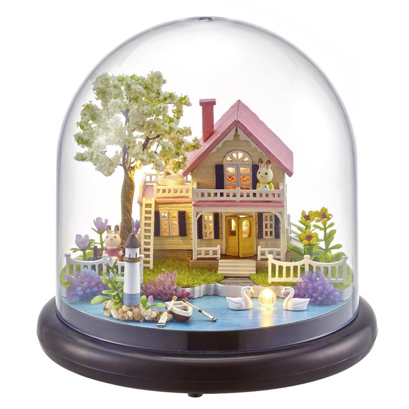 Cute Room Doll House Miniature Diy Dollhouse With Furnitures Wooden