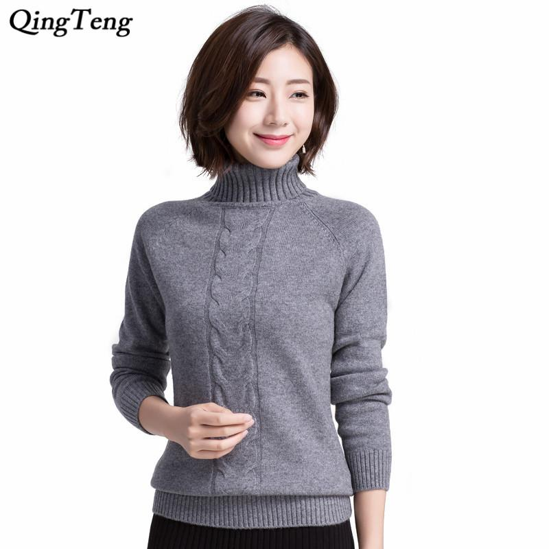 c7b4bb1f58ff68 2019 Ribbed Turtleneck Sweater Women Pure Cashmere Winter Thick Long Sleeve  Fitted Pullover Designer Elegance Cable Style Jumpers From Deborahao, ...