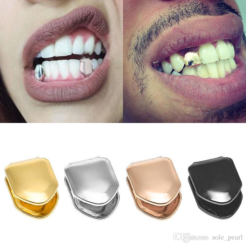 2019 Braces Single Metal Tooth Grillz Gold Silver Color Dental Grillz Top  Bottom Hiphop Teeth Caps Body Jewelry For Women Men Fashion Vampire From ... 02bd80bf0d