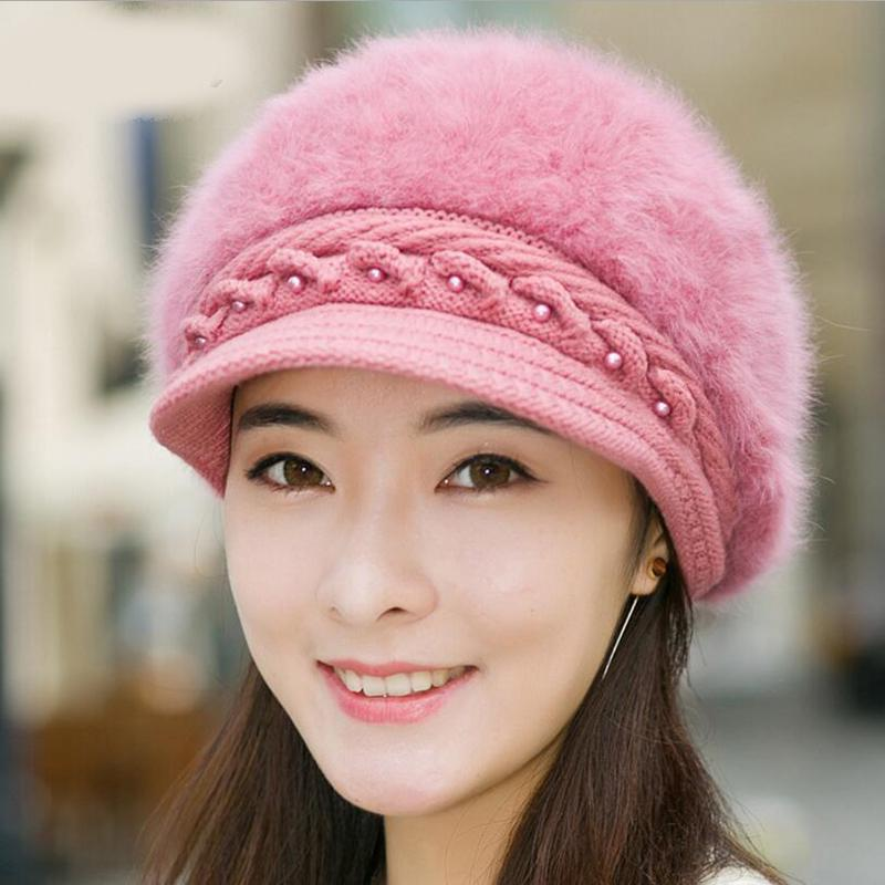 ccce44c1de7 Elegant Women S Winter Rabbit Fur Hat Female Fall Knitted Hats For Woman  Cap Autumn Ladies Fashion Skullies Beanies Slouchy Beanie Crochet Pattern  Baby Boy ...