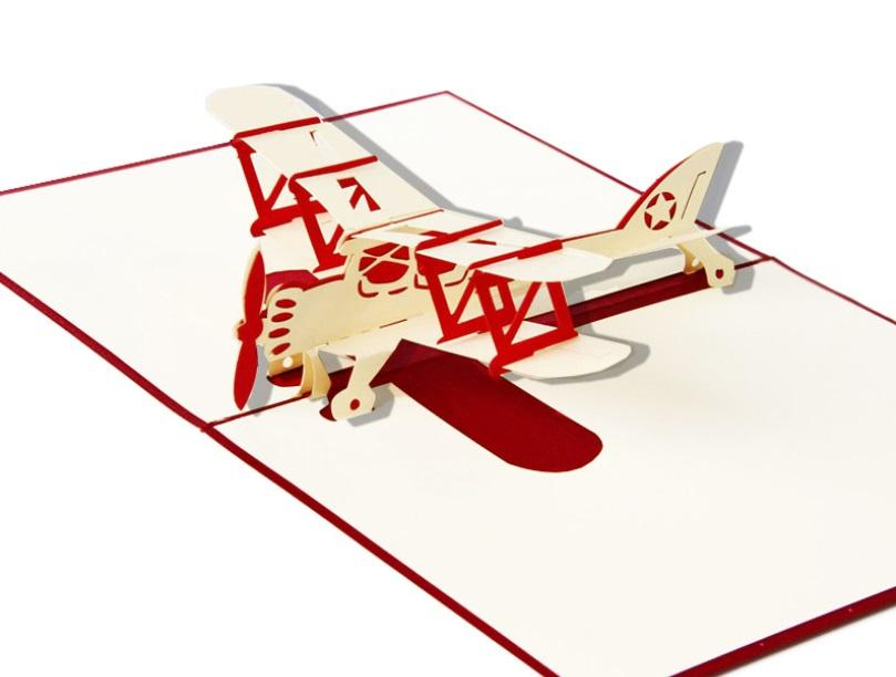 Airplane 3D Pop Up Greeting Card Thank You Card Kirigami Origami ...