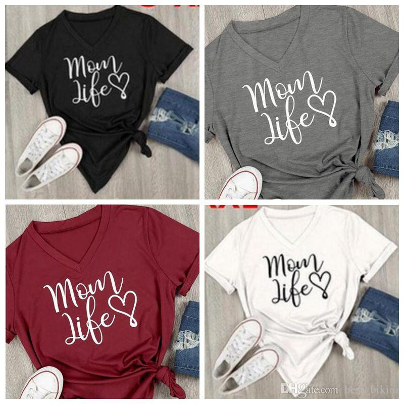 convenience goods brand new attractive colour 4 Colors Women Mom Life Heart V Neck T-Shirt Women Casual Letter Printed  Short Sleeve T-Shirt Summer Streetwear Tee Tops CCA8987 10pcs