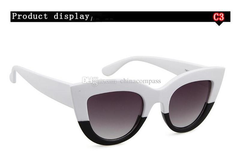 Kadınlar için 2018 Yeni Retro Vintage Kedi Göz Güneş Gözlüğü Plastik Çerçeve Aynalı Lens Kadın Bayanlar Sunglass