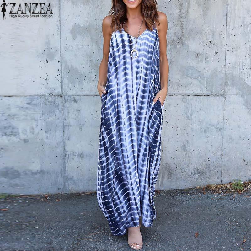 7826f796f8 2018 ZANZEA Women Summer Sexy V Neck Sleeveless Striped Maxi Long Dress  Pockets Spaghetti Straps Backless Loose Beach Vestido Dresses Cheap Dresses  2018 ...