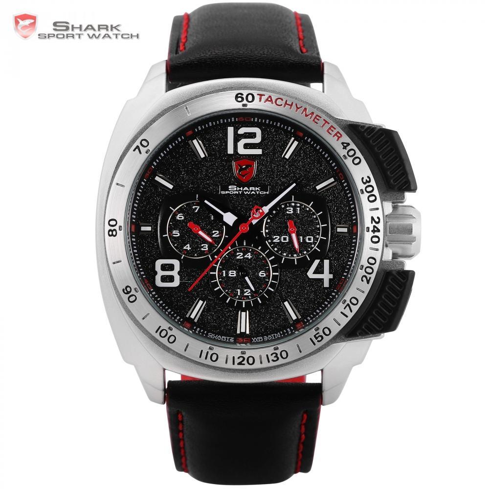647e02c2da26 Compre Tiger SHARK Reloj Deportivo Marca Silver Case Fecha Función Banda De  Cuero Hombre Relojes Casual Movimiento De Cuarzo Reloj De Pulsera De Lujo  ...