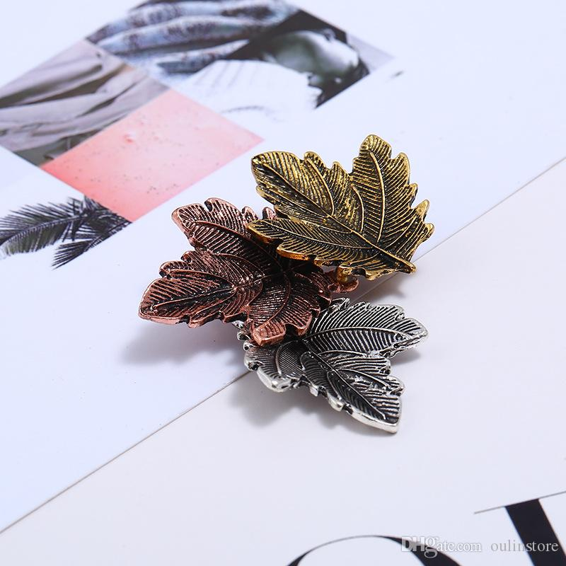 Leaves Brooches Alloy Colourful Leaf Flowers Brooche Pin Vintage Fashion Jewelry Women Fancy Dress