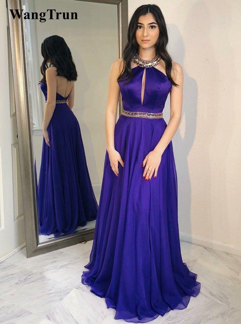 Beautiful Halter Backless Prom Dresses 2019 A Line Purple Evening ...