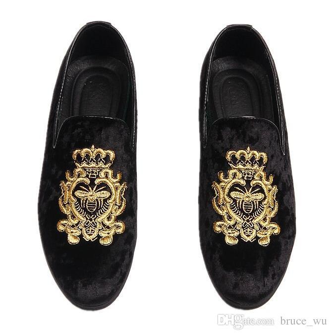 ab39b10cb6e Hot Sale Velvet Embroidery Men Dress Shoes Men S Flats Male Slip On Driving  Shoes Soft Comfortable Designer Loafers Moccasins Cheap Shoes For Men  Purple ...