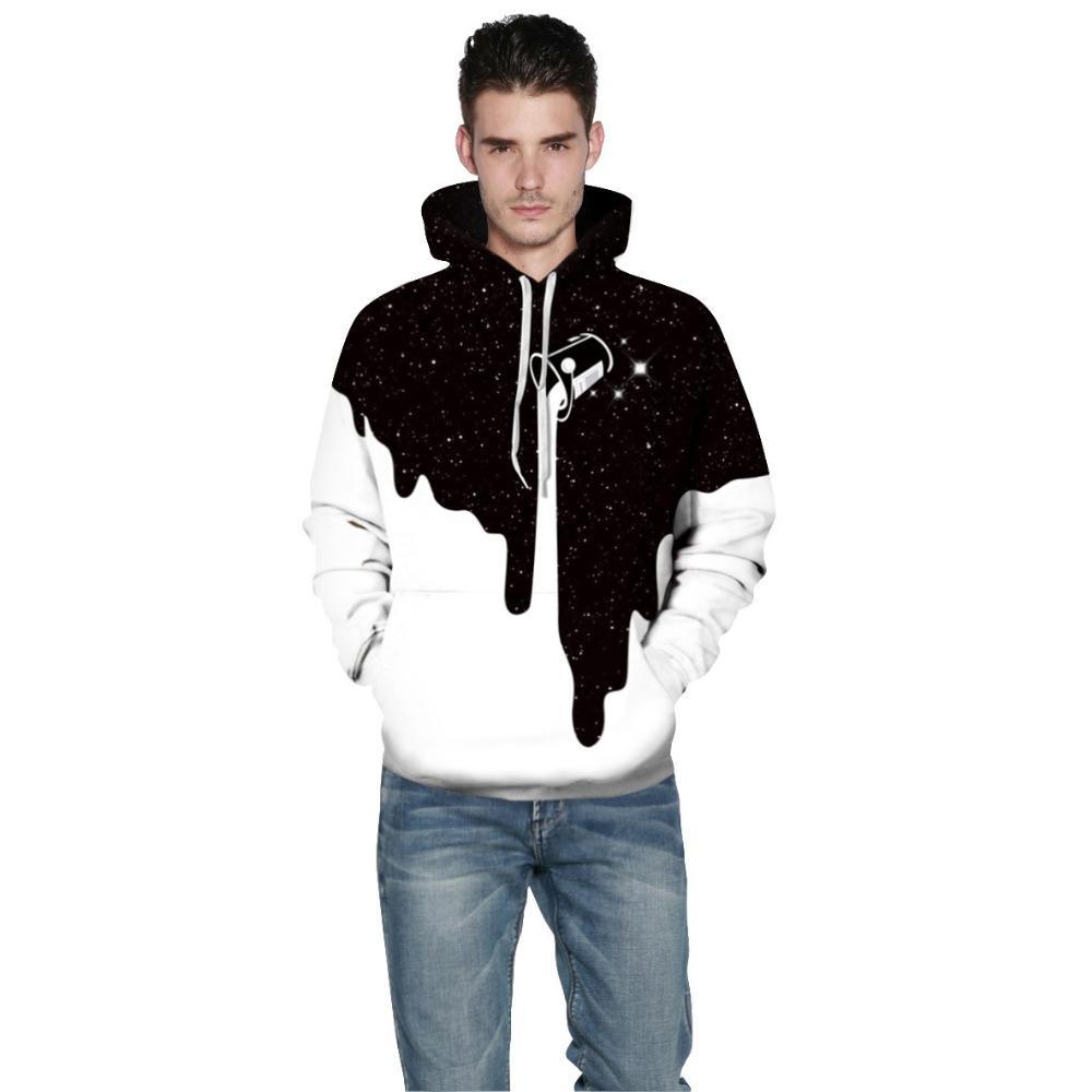 52daaf747b0 2019 3D Print Hoodie Men Casual Milk Cup Hooded Sweatshirt Black White  Patchwork Pullovers Male Winter For Women Plus Size 5XL Hoodie From  Jujubery