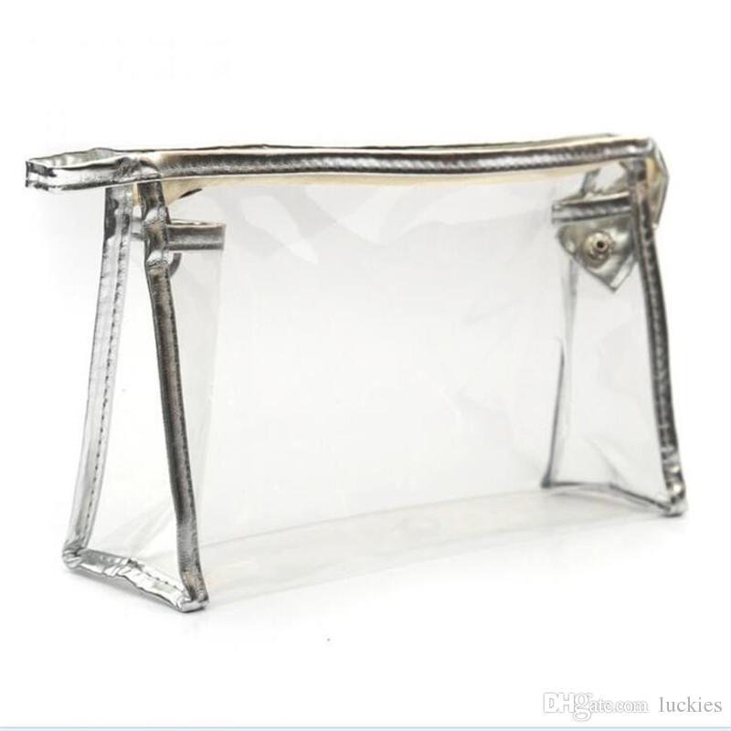 Moda kozmetik çantası kozmetik olgu makyaj çantaları bayan yıkama torbası şeffaf PVC seyahat su geçirmez çanta saklama torbaları
