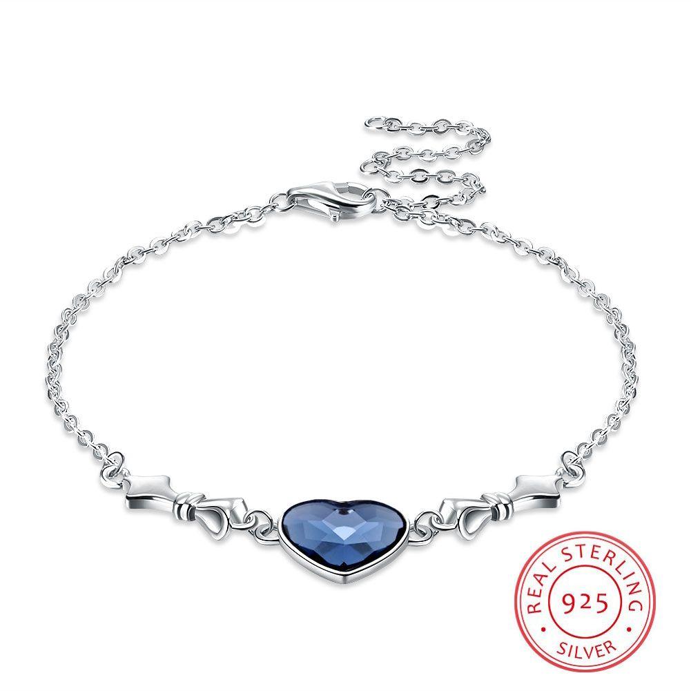 S925 Sterling Silver Bracelet Women Beautiful Blue Crystal Bracelets