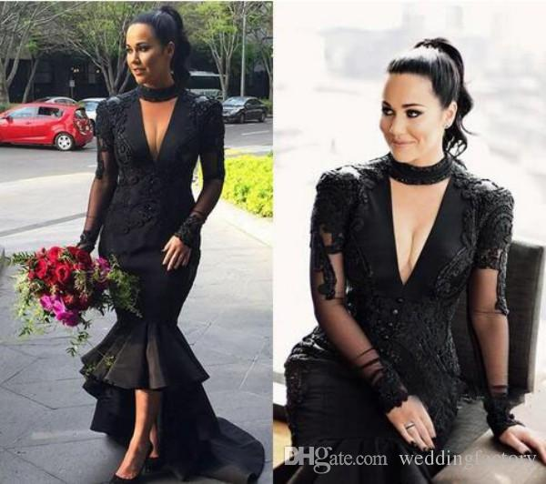 2018 New Long Sleeve Evening Dresses Sexy Black Dress High Neck Cut Out Deep V Neck Lace Appliques High Low Prom Party Gowns