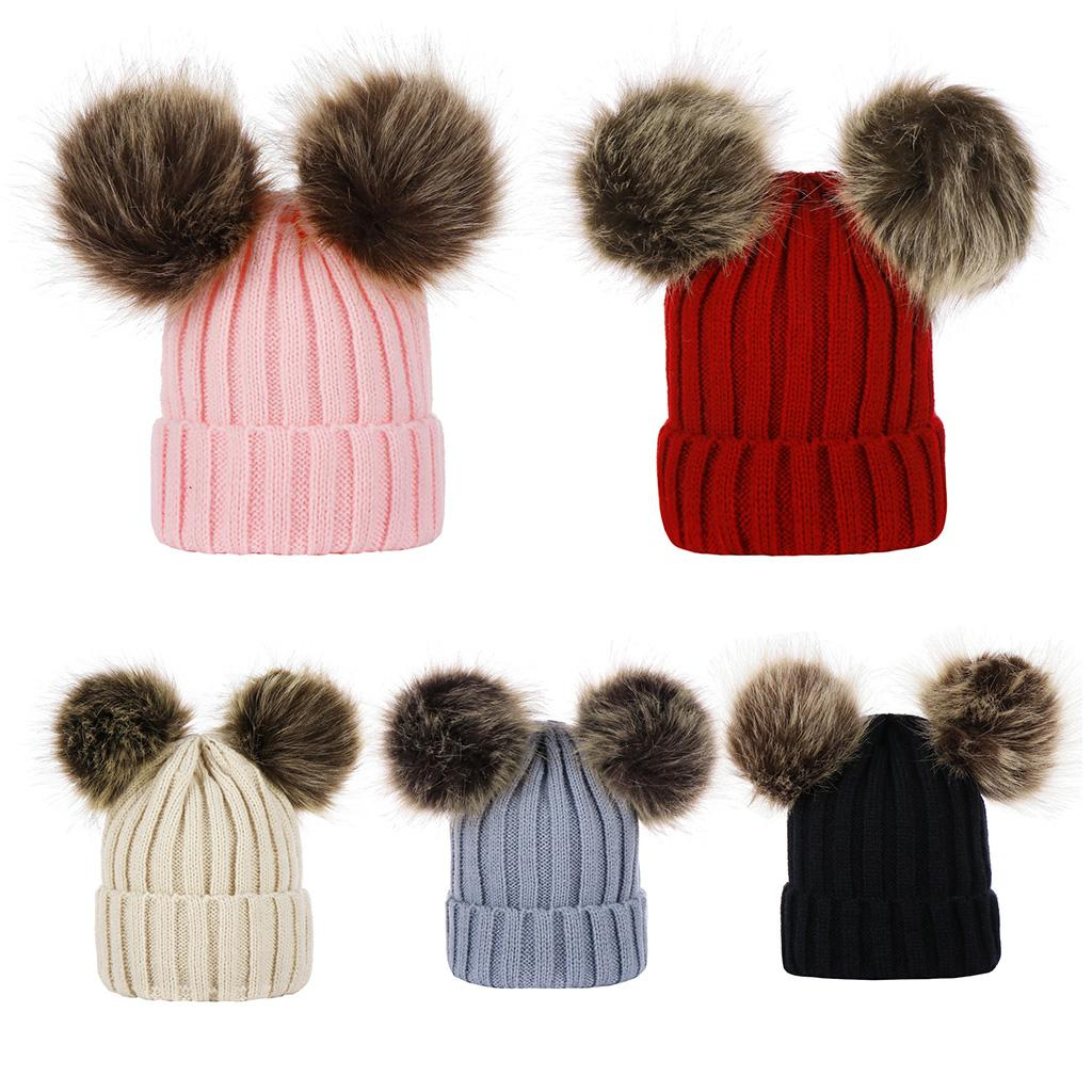 37df9ecd12e 2019 Baby Winter Thickened Ribbed Knitted Hat Faux Fox Fur Solid Color With  Double Fluffy Pompom Ball Cuffed Beanie Cap Ear Warmer From Cutport